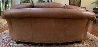 Two Traditional Curved - Back Chestnut Leather Sofas by Hancock & Moore 3