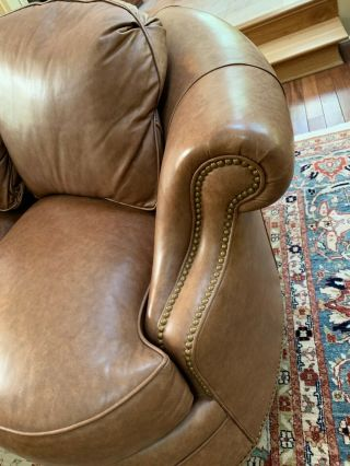 Two Traditional Curved - Back Chestnut Leather Sofas by Hancock & Moore 5
