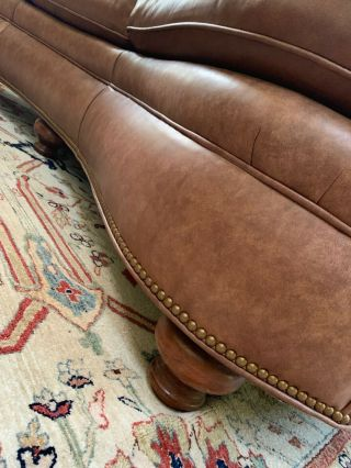 Two Traditional Curved - Back Chestnut Leather Sofas by Hancock & Moore 6