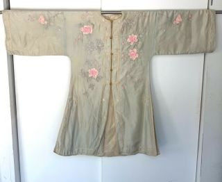 Antique Chinese Silk Embroidery Robe Flowers And Foilage Gold Buttons