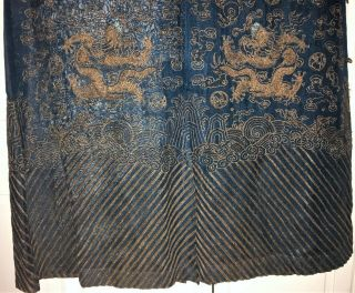 Very Fine ANTIQUE CHINESE SILK BROCADE SUMMER ROBE DRAGONS QING 10
