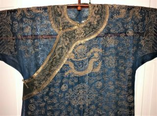 Very Fine ANTIQUE CHINESE SILK BROCADE SUMMER ROBE DRAGONS QING 2