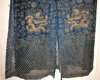 Very Fine ANTIQUE CHINESE SILK BROCADE SUMMER ROBE DRAGONS QING 3