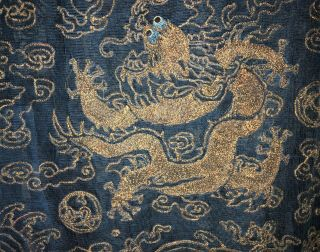 Very Fine ANTIQUE CHINESE SILK BROCADE SUMMER ROBE DRAGONS QING 4