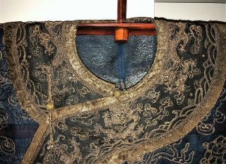 Very Fine ANTIQUE CHINESE SILK BROCADE SUMMER ROBE DRAGONS QING 5