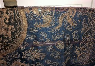 Very Fine ANTIQUE CHINESE SILK BROCADE SUMMER ROBE DRAGONS QING 6