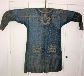 Very Fine ANTIQUE CHINESE SILK BROCADE SUMMER ROBE DRAGONS QING 7