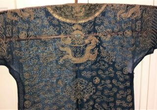 Very Fine ANTIQUE CHINESE SILK BROCADE SUMMER ROBE DRAGONS QING 8