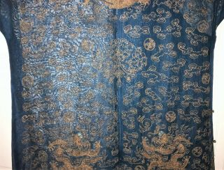 Very Fine ANTIQUE CHINESE SILK BROCADE SUMMER ROBE DRAGONS QING 9