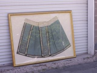 Antique Chinese Qing Dynasty Silk Skirt In Large Gilt Frame 6