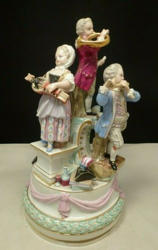Big 19th Ce.  Meissen Porcelain Group - Of Children With Instruments