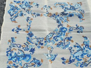 Large antique Chinese embroidery textile 90 cm x75 cm 5