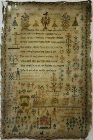 Early 19th Century Sailing Ship,  Motif & Verse Sampler By Elizabeth Lowe - 1807