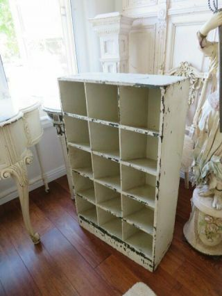 Omg Old Vintage Chippy White Wood Cubby Cabinet Display 15 Numbered Cubbies