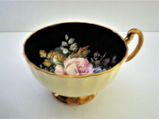 Rare Aynsley Black Oban Footed Cup & Saucer w Cabbage Rose Floral - 3