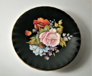 Rare Aynsley Black Oban Footed Cup & Saucer w Cabbage Rose Floral - 4
