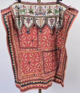 Antique 19th C Hand Sewn Ethnic Textile With Elaborate Beadwork Panel Top
