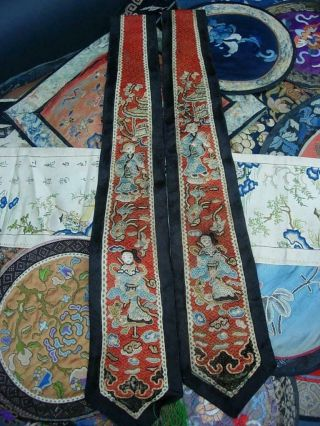 LARGE GROUP OF ANTIQUE CHINESE EMBROIDERED SILK PANELS 3