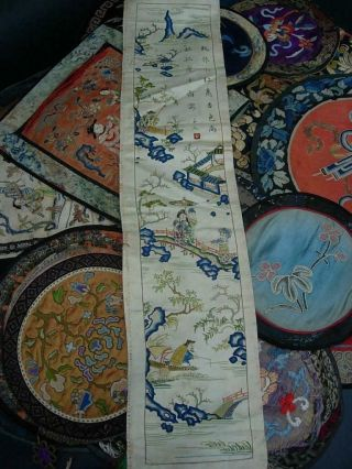 LARGE GROUP OF ANTIQUE CHINESE EMBROIDERED SILK PANELS 4