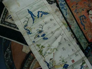 LARGE GROUP OF ANTIQUE CHINESE EMBROIDERED SILK PANELS 5
