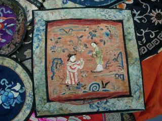 LARGE GROUP OF ANTIQUE CHINESE EMBROIDERED SILK PANELS 9