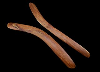 "2 Large Australian Aboriginal Mulga Wood Boomerangs 29.  5 "" Heavy"