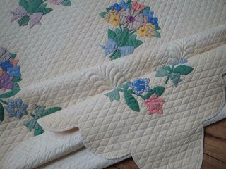 MASTERPIECE Trapunto Vintage 1937 French Bouquets Applique QUILT 9