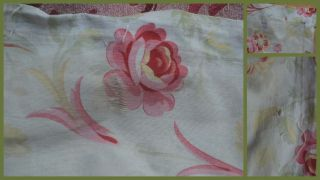 Over 2 yds French floral print fabric,  from an unpicked quilt/bouti,  circa 1900 10