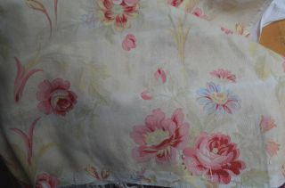 Over 2 yds French floral print fabric,  from an unpicked quilt/bouti,  circa 1900 11