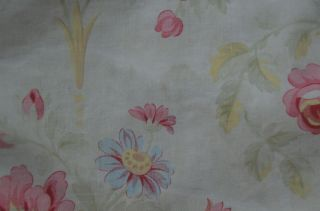 Over 2 yds French floral print fabric,  from an unpicked quilt/bouti,  circa 1900 12