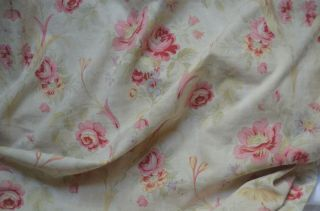 Over 2 Yds French Floral Print Fabric,  From An Unpicked Quilt/bouti,  Circa 1900