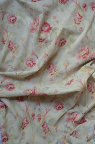 Over 2 yds French floral print fabric,  from an unpicked quilt/bouti,  circa 1900 2
