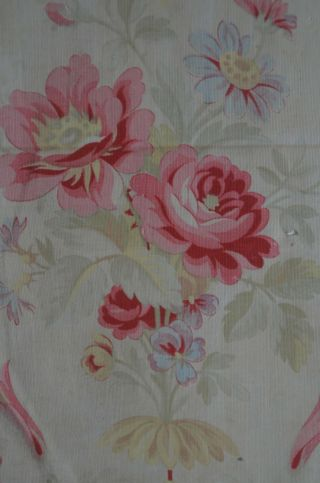 Over 2 yds French floral print fabric,  from an unpicked quilt/bouti,  circa 1900 3