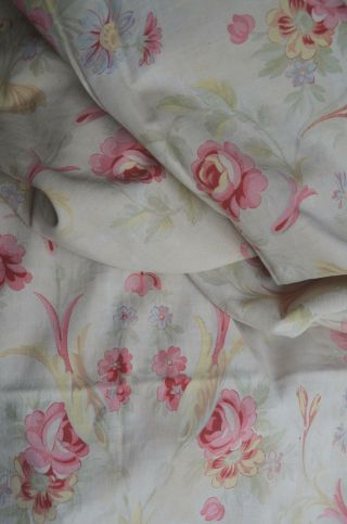 Over 2 yds French floral print fabric,  from an unpicked quilt/bouti,  circa 1900 5