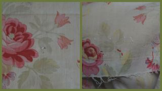 Over 2 yds French floral print fabric,  from an unpicked quilt/bouti,  circa 1900 7