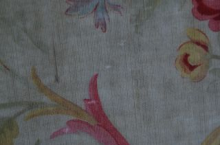 Over 2 yds French floral print fabric,  from an unpicked quilt/bouti,  circa 1900 8