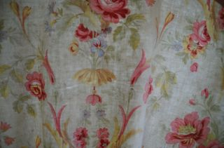 Over 2 yds French floral print fabric,  from an unpicked quilt/bouti,  circa 1900 9