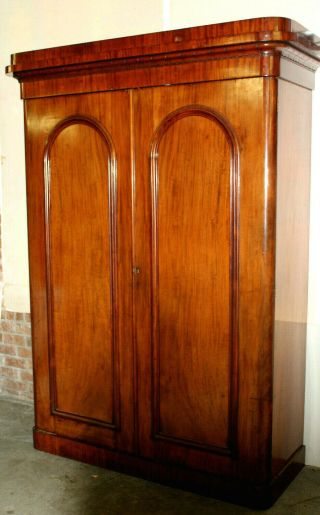 "Antique 83 "" Tall Mahogany Armoire Wardrobe Closet & Full Chest Of Drawers Within"