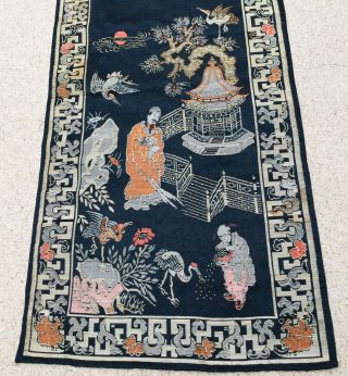 Antique Chinese Silk Panel Tapestry Table Runner Asian Oriental Textile