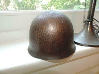 Authentic OLD As Found Signed ROYCROFT Arts Crafts Hammered Helmet Lamp NO RES 2