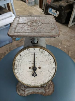Antique Scale Columbia Family Landers Frary Clark 24 Lb Pat 1907 Rustic Kitchen