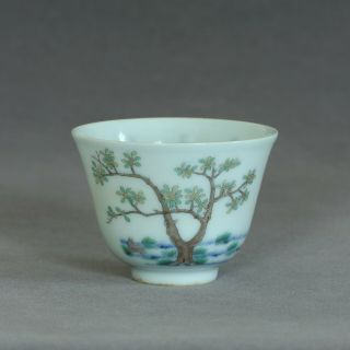 A Chinese Famille Rose Porcelain Cup Of Qing Dynasty Kangxi Mark.