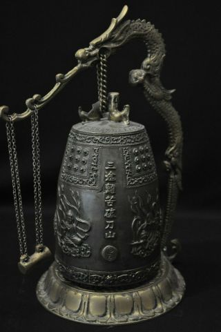 Antique Japanese Bronze Dragon Incense Burner/bell W/ Buddhist Deities & Psalm
