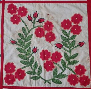 Antique Dated 1847 Signed Baltimore Album QUILT Bird Floral Prussian Stuffed 11