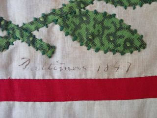 Antique Dated 1847 Signed Baltimore Album QUILT Bird Floral Prussian Stuffed 12