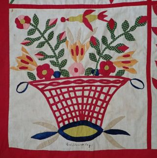 Antique Dated 1847 Signed Baltimore Album QUILT Bird Floral Prussian Stuffed 2