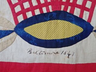 Antique Dated 1847 Signed Baltimore Album QUILT Bird Floral Prussian Stuffed 4