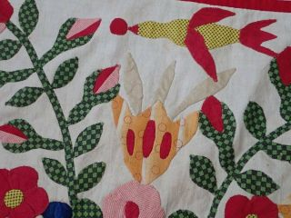 Antique Dated 1847 Signed Baltimore Album QUILT Bird Floral Prussian Stuffed 5