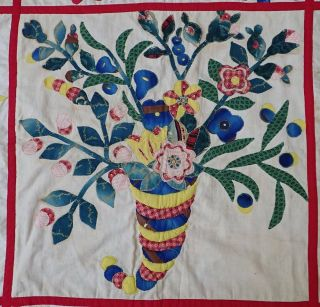 Antique Dated 1847 Signed Baltimore Album QUILT Bird Floral Prussian Stuffed 6