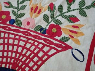 Antique Dated 1847 Signed Baltimore Album QUILT Bird Floral Prussian Stuffed 7
